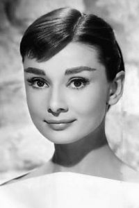 Black and white portrait of Audrey Hepburn