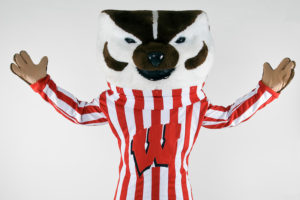 Bucky Badger with Arms Raised Wide