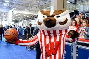 Bucky Badger at the Final Four tournament in 2014