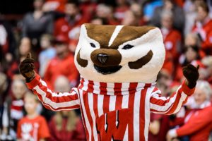 Bucky Badger cheering at the volleyball game