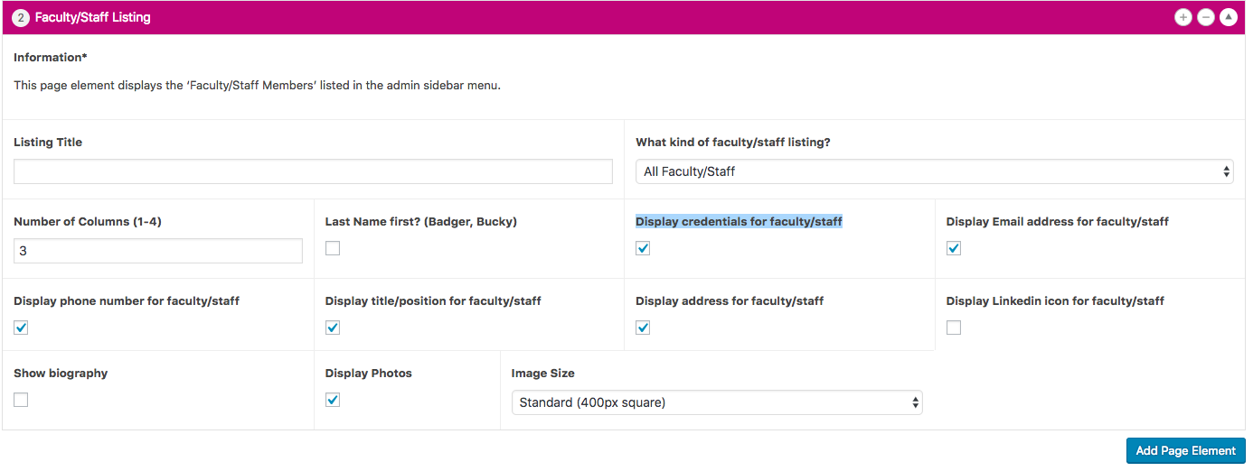 A new checkbox is available (and checked by default) for credentials in the Faculty/Staff List page element.