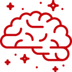 Red outline of a brain with stars around it, indicating helpful 'how to' documentation and educational materials.