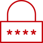 Red outline of a lock indicating a login option