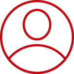 Red outline of a person indicating a user on a website