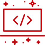Red outline of a laptop with stars around it, indicating customizations to a website.