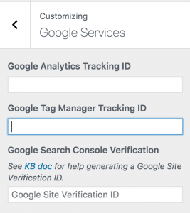 Recently updated Google Services hub in the Customizer, displaying fields for Google Search Console, Google Analytics, and Google Tag Manager.