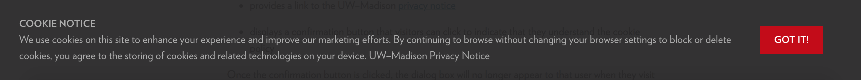 The UW-Madison GDPR cookie consent message