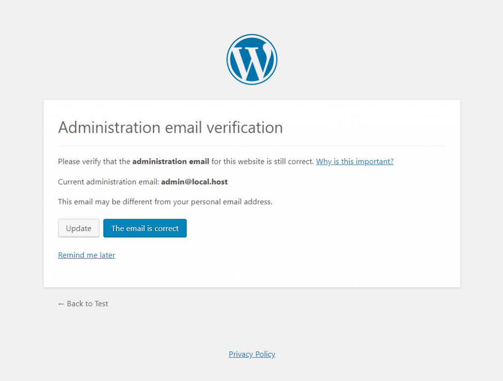 Email verification screen from WordPress Core 5.3 update