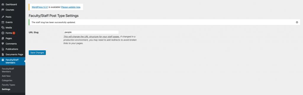 Shows option for customizing the WordPress slug for the fac/staff custom post type
