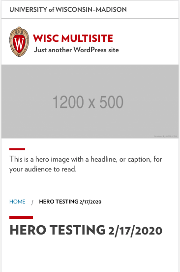 Screenshot of a UW Theme site showing a headline field is no longer overlapping the hero content