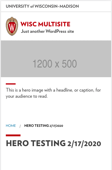 Screenshot of a UW Theme site showing a headline field overlapping the hero content