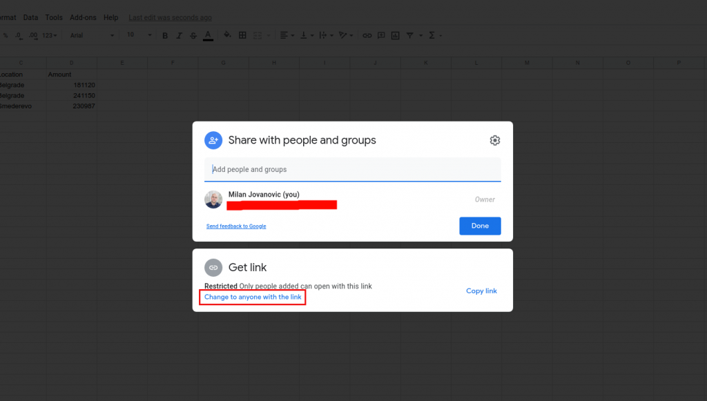 "Modal window with sharing options for Google Sheets. There is a blue link that states ""Change to anyone with link text"" which is surrounded by a red box."