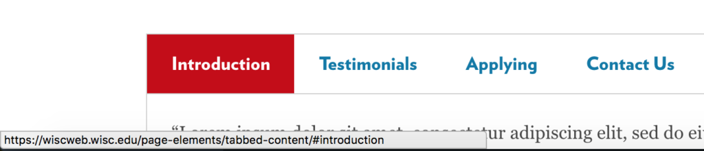 Hovering over tabs in tabbed content page elements will show the ID